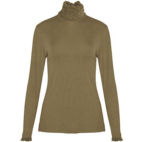 Extras Fashion Camicia - Collo Alto - Maniche Lunghe - Donna Taupe