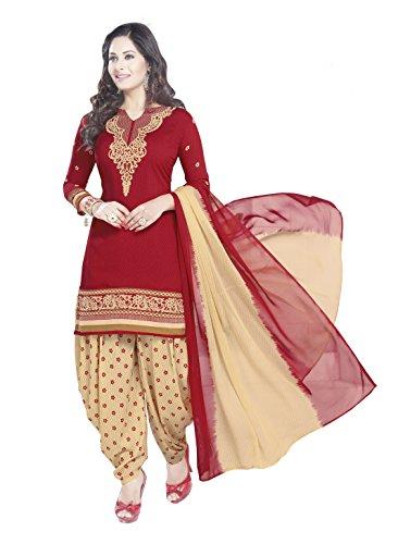 Ishin Women\'s Dress Material (Darvr1859R_Red & Beige_One Size)