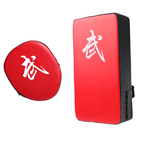 sharplace Sanda Fighting Muay Thai Fuß Ziel PU-Leder Rechteck Kicking Strike Shield + Boxen Kick Punch Pad Hand Ziel Boxausrüstung Focus Zirkular Pad Pad -