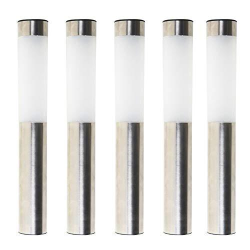 esto24® 5er LED Solar Gartenleuchten Wegeleuchte Solarlampe aus Edelstahl mit Erdspieß und mit Lichtsensor für Garten und Terrasse (Solar-lampe)