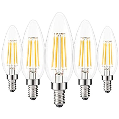 E14 LED Filament Bulbs 4W, 40W Clear Candle Bulbs Equivalent, Warm White Candelabra E14 SES Bulb, Non-Dimmable, 440Lm, LED Light Bulb, Small Edison Screw Candle Light Bulbs, 5-Pack, [Energy Class A+]