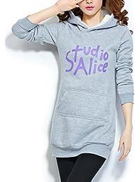 Yasong Women's Girl's Print Pullover Long Hoodies Sweatshirt Top Hooded Jumper Jacket Coat
