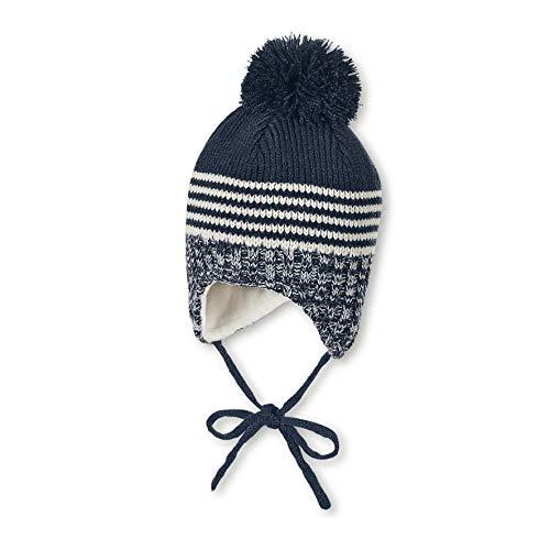 Sterntaler Mütze für Jungen mit Bommel und Strickmustern, Gefüttert mit Baumwoll-Fleece, Alter: 18-24 Monate, Größe: 51, Blau (Marine)