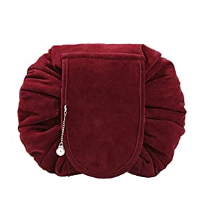 Drawstring Cosmetic Bags Large Capacity Beautician Organizer Toiletry Cosmetic Bags Portable Quick Pack Waterproof Travel Bag (Burgundy 3)