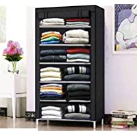 PHILOSHOP Multipurpose Collapsible Wardrobe 6 Layer Rack with Cover Non-Woven Fabric Stainless Steel (Black)