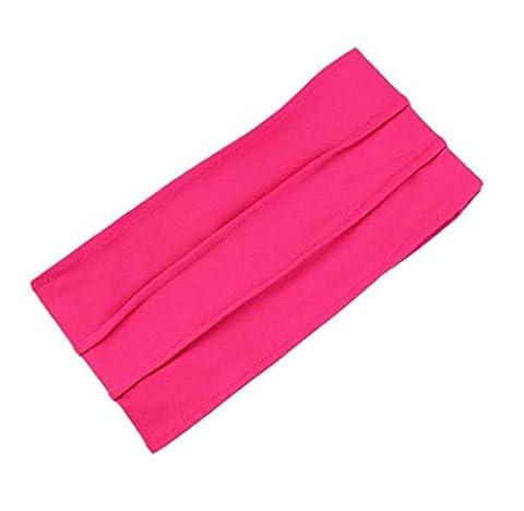 Bandeau rétro Elyseesen Bandeau large Yoga bandeau Boho bandeau serre-tête en cours d'exécution (Rose rouge)