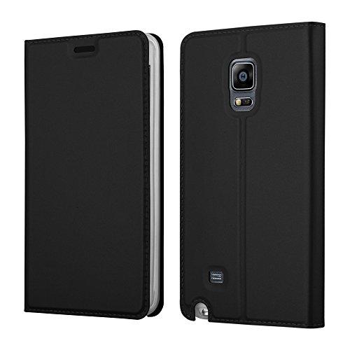 Cadorabo Hülle für Samsung Galaxy Note Edge - Hülle in SCHWARZ – Handyhülle mit Standfunktion und Kartenfach im Metallic Look - Case Cover Schutzhülle Etui Tasche Book Klapp Style