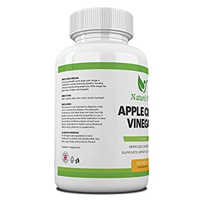 Apple Cider Vinegar 500mg - All Natural Supplement Promotes Weight Loss, Controls Appetite and Improves Digestion - 120 Tablets