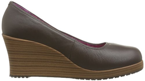 Marron femme Toe Crocs A Espresso Walnut Closed Wedge Leigh Espadrilles wxvHqRa
