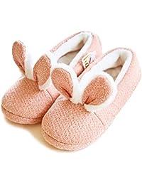 Minetom Zapatillas De Estar Casa Mujer Interior Exterior Algodón Slipper Cómodo Antideslizante Zapatos Planos Invierno Dibujos