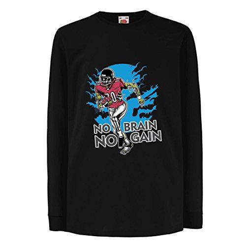 lepni.me Kinder-T-Shirt mit Langen Ärmeln Kein Gehirn, Kein Gewinn! Zombie Football Player - Inspirierende Fußball Zitate (3-4 Years Schwarz Mehrfarben) (Zombies, Liebe Ärmel Lange)