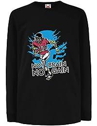 lepni.me Camisetas de Manga Larga para Niño ¡Sin Cerebro No Hay Ganancia!