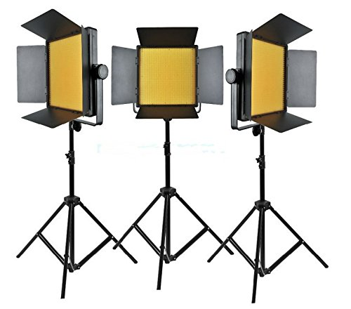 Dauerlicht-kit (Gowe gelb Version 3000 3 x 1000 LED Foto Studio Video Dauerlicht Kit für Kamera Camcorder DV 3300 K)