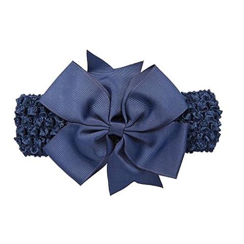 Stirnbänder Longra Baby Mädchen-Stirnbänder Bowknot Haarschmuck für Mädchen Kinder Stoff Haarband Stirnbänder (0-4 Jahre ) (Navy)