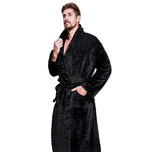 Lmmet accappatoio per uomo lungo scialle con cappuccio spugna microfibra tasche cintura regalo perfetto per palestra spa regalo accappatoio in fleece