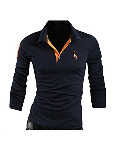 Bestgift Herren Langarm Polohemd Poloshirt Einfarbig Kentkragen T-Shirt Dunkel Blau