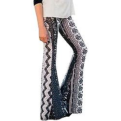 MORCHAN ❤ Femmes Taille Haute Décontractée Impression Pantalons de Sport Sarouel Bell-Bottoms Yoga Un Pantalon(S,Vert)