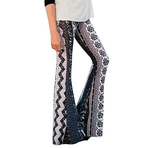 MORCHAN  Femmes Taille Haute Décontractée Impression Pantalons de Sport Sarouel Bell-Bottoms Yoga Un Pantalon(XL,Vert)