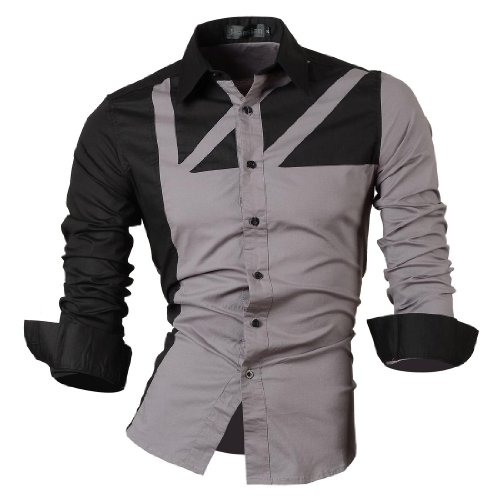 jeansian Herren Freizeit Hemden Shirt Tops Mode Langarmshirts Slim Fit 8312 Gray