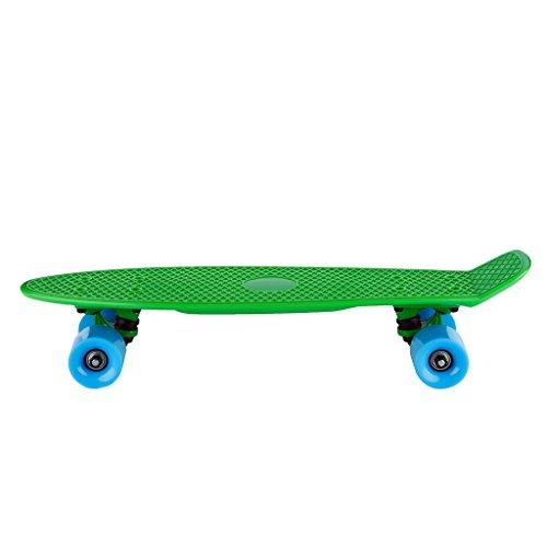 Drei Farbe® skate-board Kunststoff Deck Board mit Diff & # 233; verschiedene Farben-Stil Cruiser für D & # 233; butant V & # 233; T & # 233; RA Kinder adolescents-dimension 55Länge 15cm Höhe -- belastbar max. 80kg für Kinder von 12-14 Jahren grün - grün