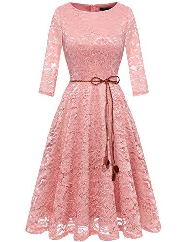 bridesmay Damen Spitzenkleid 3/4 Ärmel Prinzessin Blumen Abendkleid Brautjungfernkleider Blush 2XL (Blush-kleid-blumen-mädchen)