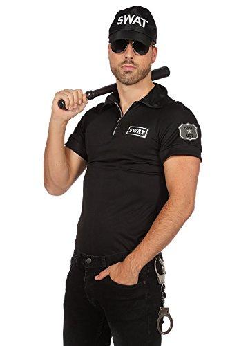 TH-MP Polizeikostüm für Damen und Herren S.W.A.T. Police Officer Spezialeinheit Mottopartykostüm Faschingskostüm Auch für Paare (S.W.A.T. Herrenhemd, 54)