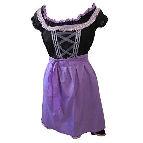 Zoelibat 47026305.008.40 - Dirndl Set, 3-teilig - Trachtenkleid Bluse und Schürze, Größe M (40), schwarz/violett (Wench Kostüm Set)