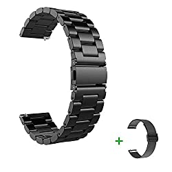 Armband für Samsung Galaxy Watch 46mm & Gear S3 Frontier/Classic, 22mm Rostfreier Stahl Band Ersatz Armbänder Metallband für Huawei Watch GT/Watch 2 Classic (Schwarz Metall Band)