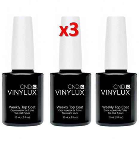 CND VINYLUX Weekly Nail Polish Top Coat 15ml / 0.5fl.oz (Pack of 3)