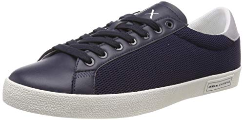 Armani Exchange Herren Lace Up with Suede Heel Sneaker, Blau (Navy 00285), 46 EU