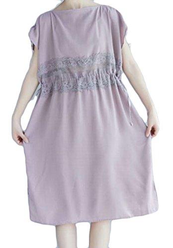 GRMO-Women Lace Drastring Loose Stitching Kness Length Dress