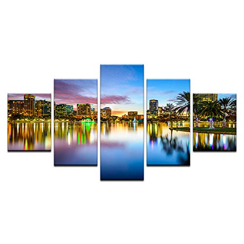 Fbhfbh  5 Panel Orlando City Skyline Leinwanddruck Florida USA Wandkunst Leinwand Malerei Set Room Decor Gemälde für Wohnzimmer-16x24/32/40inch,With frame