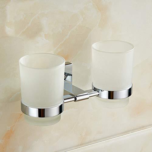 Rishx Paar Mundwasser Zahnbürste Doppel Getränkehalter Europäische Villa Badezimmerzubehör Wand Kupfer Keramik Zahnbürste Tasse Rack Tumbler Punch Installation -