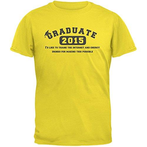 Graduate Internet Energy Drink Funny Graduation Yellow Adult T-Shirt