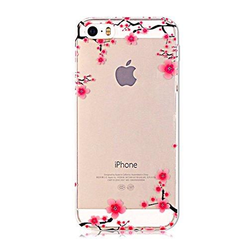 Coque iPhone SE, SpiritSun Housse Etui TPU Silicone Clair Transparente Ultra Mince Souple Douce Coque pour Apple iPhone SE / 5 / 5S + Stylet et Bouchon Anti-Poussière - Prune Fleur Rose Prune Fleur Rose