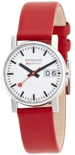 Mondaine A669.30305.11SBC Orologio da Polso, Display Analogico, Donna, Cinturino Pelle, Rosso Brillante