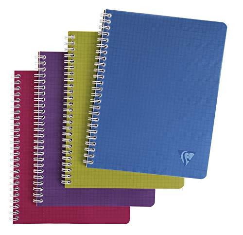 Clairefontaine Linicolor 329725C Cahier à spirale 100 pages petits carreaux 90 g 17 x 22 cm Couleur Aléatoire