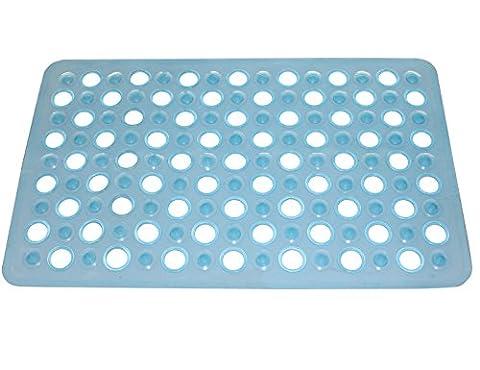 WARRAH Pebble Design Bath Mat Tub Mat Healthcare Foot Cleaning Mat for Bath or Shower -Rubber Bath Mat with Cosy Bubble Foot Grip Color Hollow Blue