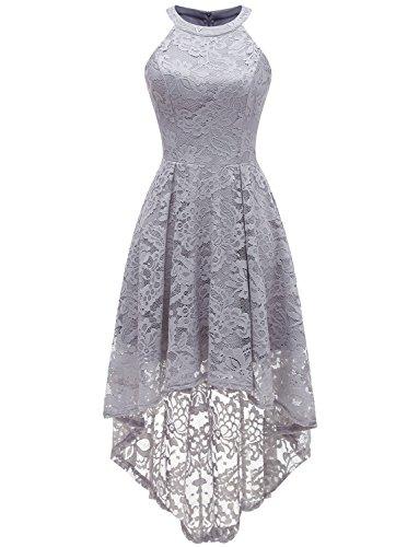 Dressystar Vokuhila Kleid Cocktail Spitzenkleid Halter Sexy Schulterfrei Ballkleid Grau S