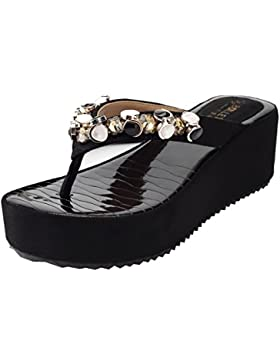 AgeeMi Shoes Damen Keilabsatz Diamant Flip Flops Plattform Zehenriemen Sandale
