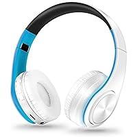 STRIR Bluetooth para auriculares estéreo V4.0 Música plegable Over-oreja sonido de alta fidelidad Calling construido en Mircophone manos libres, inalámbrico de conexión de cable,Reproducción de la tarjeta TF,Las manos alejadas liberan la charla de dos vías (Azul)