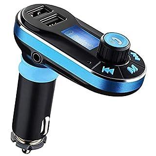 KFZ FM Transmitter, Favoto Bluetooth Auto Radio Adapter 2 USB Ports 5V/2,1A Ausgang Unterstützt SD-Karte/USB 3,5mm Audio Buchse AUX - Blau
