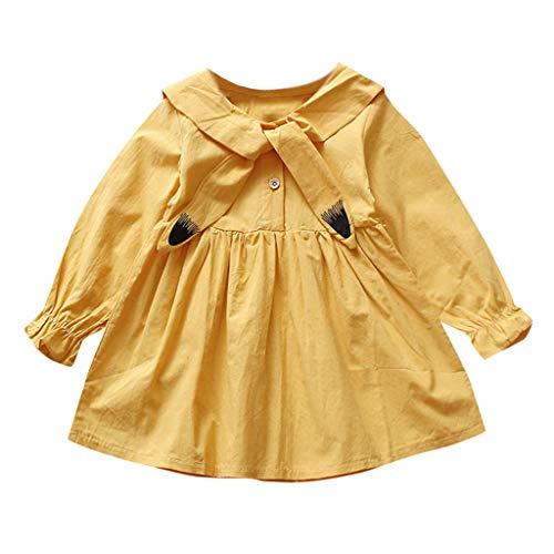catmoew Kleider für Kinder (12M- 4J) Mädchen Kleidung Baby Mädchen Lange Ärmel Cartoon Cat Drucken Party Kleid Outfit Kleidung mädchen Kleider