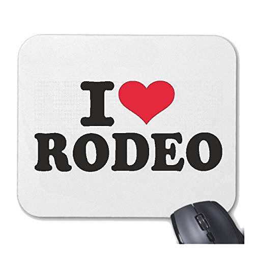 Helene Mousepad (Mauspad) I Love Rodeo - Cowboy - Rodeo REITEN - Pferd - Pferdesport für ihren Laptop, Notebook oder Internet PC (mit Windows Linux usw.) in Weiß