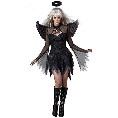 YYRZGW Halloween Frauen Cosplay Kostüm Frauen Luxuriöse Engel der Dunkelheit Mantel Kleid Anzug - Frauen Schwarzen Anzug Kostüm
