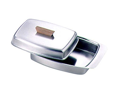 Beurrier en acier inoxydable avec bouton en bois