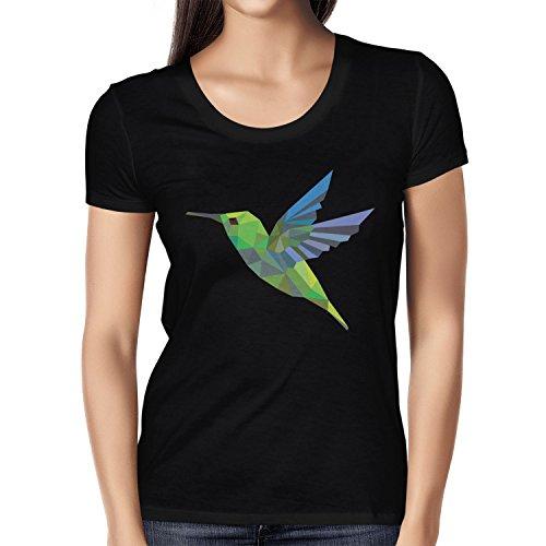 Texlab Polygon Kolibri - Damen T-Shirt, Größe L, Schwarz (T-shirt Vögel Graphic)