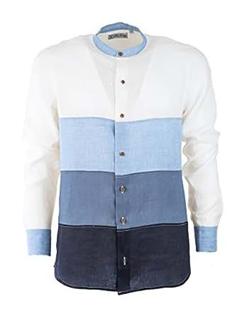 Camicia di Lino Uomo, Collo Coreano Manica Lunga, Camicia Estiva Made in Italy, con Tagli a Sfumatura Graduale in Lino (XXXL, Blue SFUMATO)