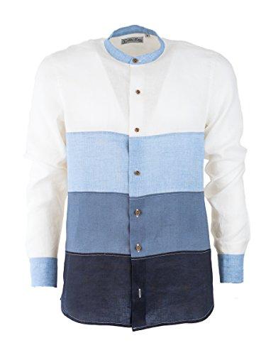 Camicia di lino uomo, collo coreano manica lunga, camicia estiva made in italy, con tagli a sfumatura graduale in lino (xxl, blue sfumato)