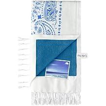Turtle Bay - Toalla de playa / Pareo - Toalla de baño - Kikoy Towel Paisley - Color : White/Blue 1 - Tamaño : 95 x 170 cms
